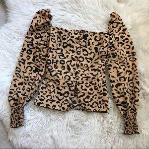 Tops - Smocked leopard top